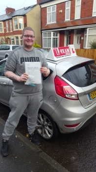 Congratulations to Tom passing his driving test with<br />