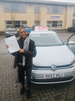 Congratulations to Denise passing her driving test with <br />