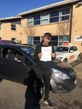 Congratulations to Louis passing his driving test with <br />