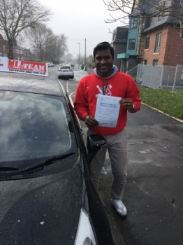 Congratulations to Arun passing his driving test with <br />