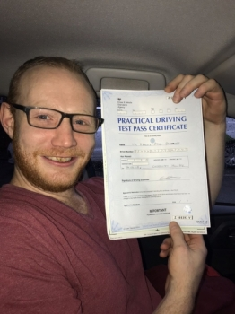 Congratulations to Ashley passing his driving test with<br />