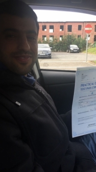 Congratulations to Nasser passing his driving test with <br />