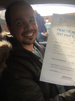 Congratulations to Ghazi passing his driving test with <br />