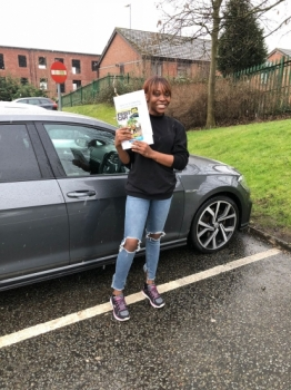 Congratulations to Shay passing her driving test with <br />