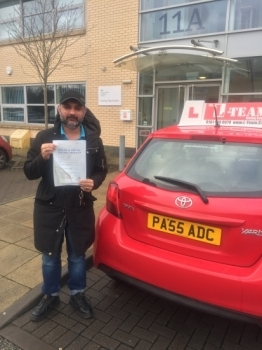 Congratulations to Taz passing his driving test with<br />