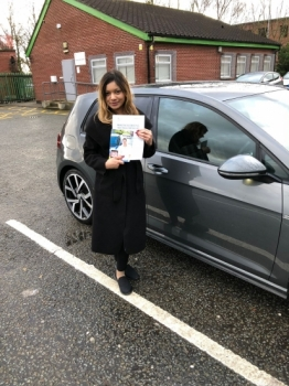 Congratulations to Sara passing her driving test with <br />