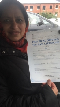 Congratulations to Nabela passing her driving test with<br />