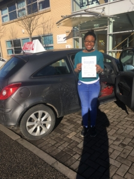 Congratulations to Janine passing her driving test with <br />