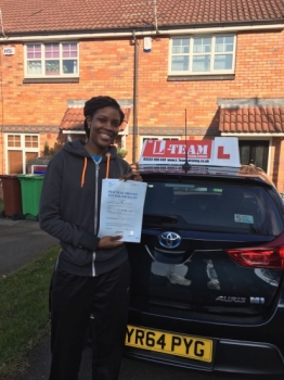 Congratulations to Shari passing her driving test with <br />