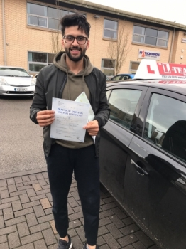Congratulations to Danyal passing his driving test with<br />