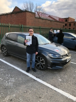 Congratulations to Abid passing his driving test with <br />