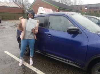 Congratulations to Chante passing her driving test with<br />