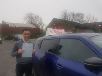 Congratulations to Rafih passing his driving test with <br />