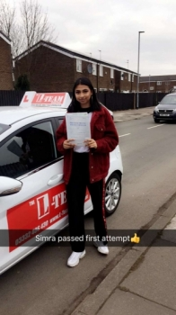 Congratulations to Simra passing her driving test with <br />