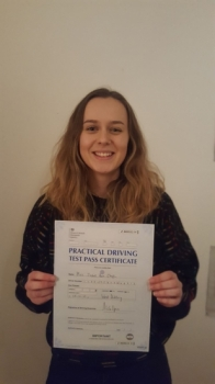 Congratulations to Rose passing her driving test with <br />