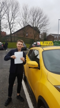 Congratulations to George passing his driving test with <br />