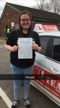 Congratulations to Lauren passing her driving test with <br />