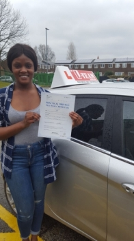 Congratulations to Nadia passing her driving test with <br />
