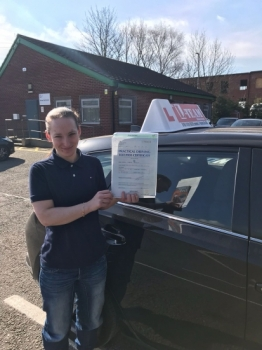 Congratulations to Carla passing her driving test with <br />