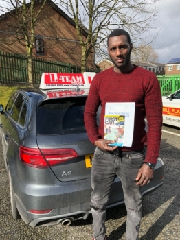 Congratulations to Nelson passing his driving test with <br />
