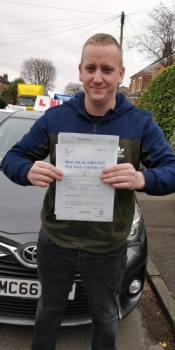 Congratulations to Barry passing his driving test with <br />