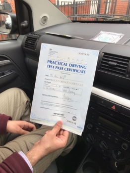Congratulations to Asim passing his driving test with <br />