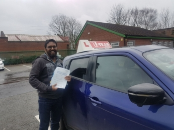Congratulations to Prem passing his driving test with <br />