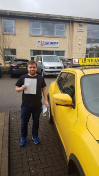 Congratulations to David passing his driving test with<br />