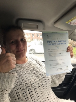 Congratulations to Leah passing her driving test with<br />