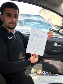 Congratulations to Azeem passing his driving test with <br />