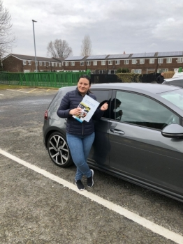 Congratulations to Raluca passing her driving test with <br />