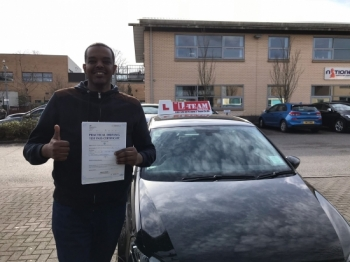 Congratulations to Walid passing his driving test with<br />