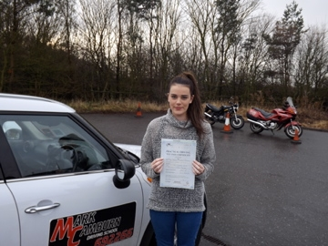 Well Jess on passing your test first time
