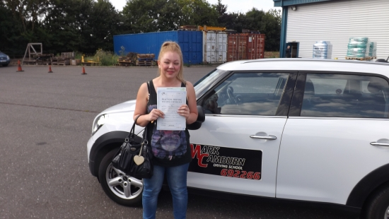 I am so please to have passed my driving test first time with Mark and I cannot thank you me to enough for your patience whilst teaching me to drive and for giving me the confidence boost that I desperately needed I would recommend anyone to do their driving lessons with you and I will be in touch soon to do my pass plus thank you again