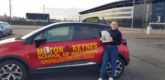 Hope Balderston-Jones<br /> Congratulations to Hope who passed her Manual Practical Driving Test today in Bletchley Milton Keynes Using Renault Capture, with only Three driving faults on Friday 13th March 2020, congratulations to Hope for learn a skill for life. With mark and the team at Milton Keynes School of Motoring.<br /> www.mksom.com.<br /> Both Female and Male instructors, Automatic and Manual. <br /> office: