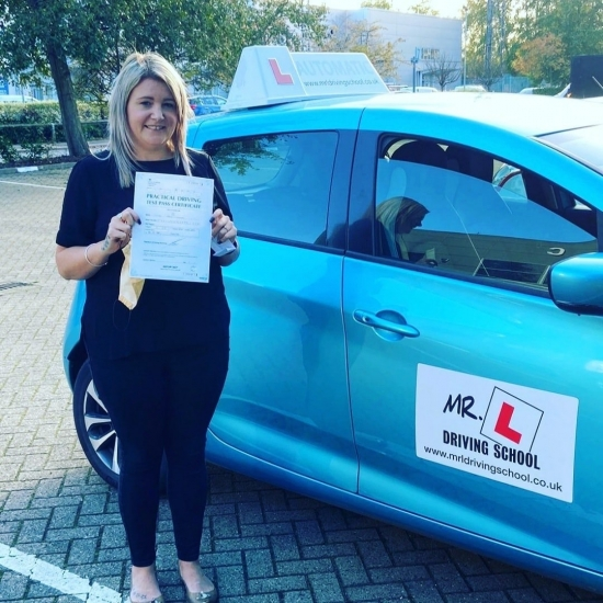 Congratulations to Laura from Streatham who passed her automatic driving test in Cambridge on the 4-11-20 after taking driving lessons with MR.L Driving School. <br /> <br /> Having been unsuccessful in the past we are chuffed to have helped Laura pass 1st time with us.