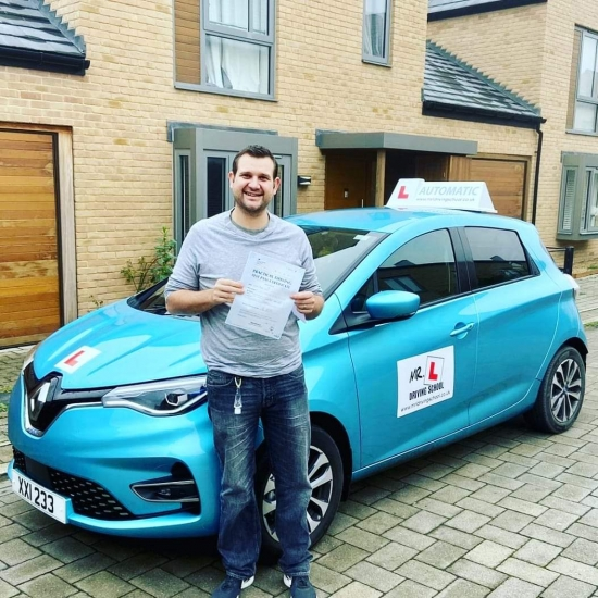 Congratulations to Jamie Flack from Trumpington who passed 1st time in Cambridge on the 7-12-20 after taking automatic driving lessons with MR.L Driving School.