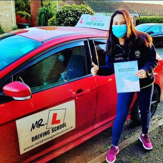 Congratulations to Heqing Haung from Cambridge who passed her driving test 1st time on the 15-12-20 after taking driving lessons with MR.L Driving School.