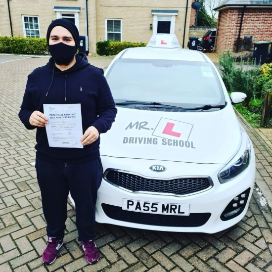 Congratulations to Andrei Tudor from Soham who passed 1st time in Cambridge on the 22-12-20 after taking driving lessons with MR.L Driving School.
