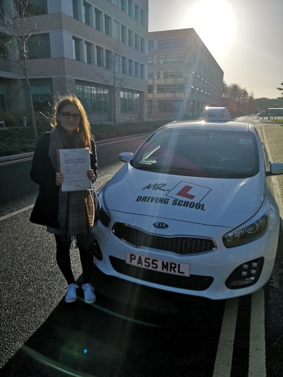 Congratulations to Jodie from Cambridge who passed 1st time on the 30-11-18 after taking driving lessons with MR.L Driving School.