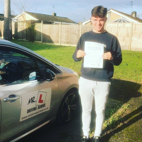 Congratulations to Tom Bristley from Newmarket who passed in Cambridge on the 11-2-19 after taking driving lessons with MR.L Driving School.
