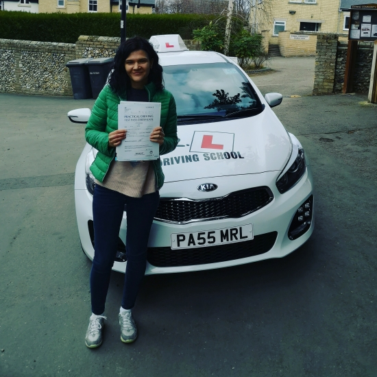 Congratulations to Alina Pruna from Exning who passed in Cambridge on the 4-3-19 after taking driving lessons with MR.L Driving School.