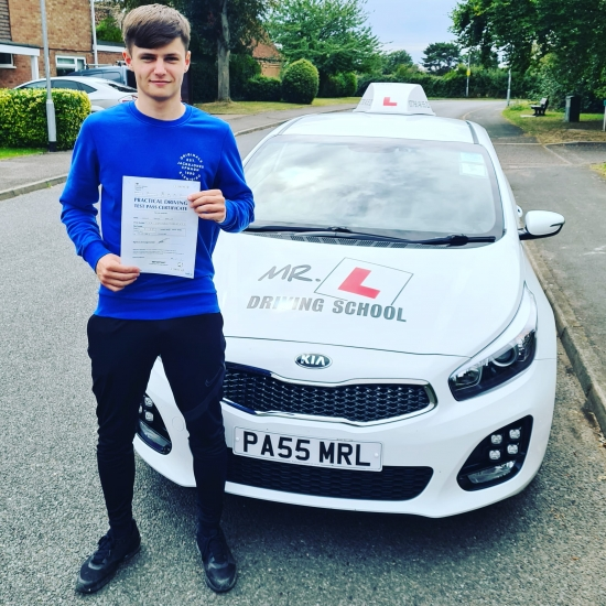 Congratulations to Lewis Darley from Newmarket who passed 1st time in Cambridge on the 4-8-20 after taking driving lessons with MR.L Driving School.