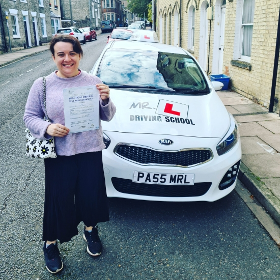 Congratulations to Grace Thoburn from Cambridge who passed 1st time in Cambridge on the 1-10-20 after taking driving lessons with MR.L Driving School.