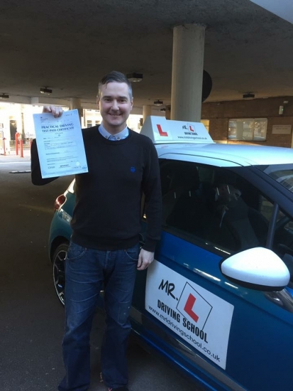 Congratulations to Paul Baker from Newmarket who passed in Cambridge on the 29-11-16 after taking driving lessons with MRL Driving School