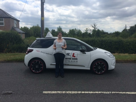 Congratulations to Louise from Stuntney who passed 1st time in Cambridge on the 19-6-15 after taking driving lessons with MR L Driving School