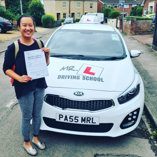 Congratulations to Kim Cardones from Cambridge who passed her driving test 1st time in Cambridge on the 25-8-21 after taking driving lessons with MR.L Driving School.