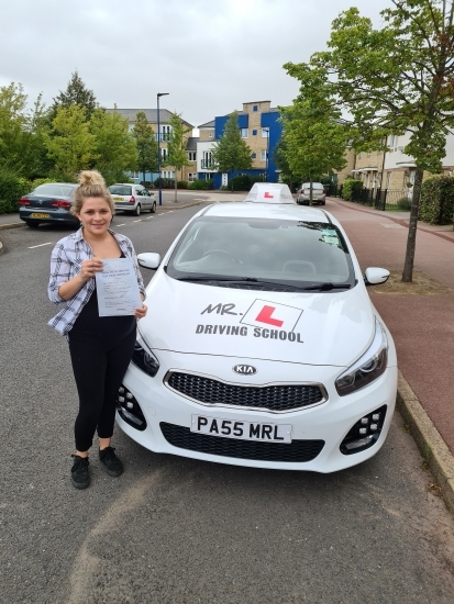 Congratulations to Hannah Howe who passed 1st time in Cambridge on the 21-8-20 after taking driving lessons with MR.L Driving School.
