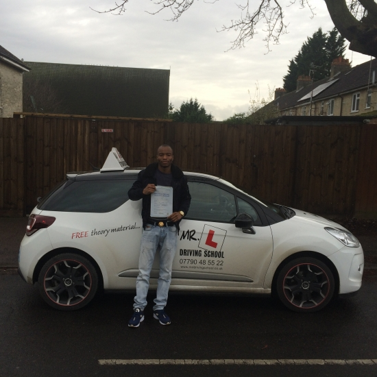Congratulations to Damilola from Cambridge who passed 1st time in Cambridge on the 8-12-15 after taking driving lessons with MRL Driving School