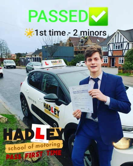 15/01/2020 - I´m so glad I chose Hadley School of Motoring. Paul built confidence in myself. It wasn´t pressured and everything was very comfortable and wasn´t rushed. I would highly recommend Hadley School of Motoring!